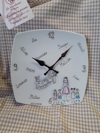 Orologio per maestra con nomi 25x25