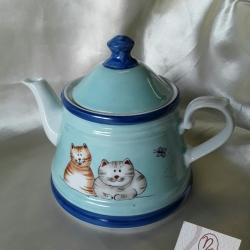Teiera gatti celeste