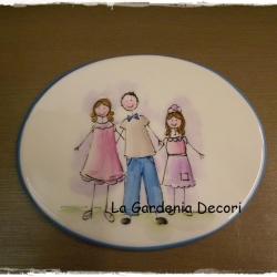 targa decorativa  famiglia con una bimba