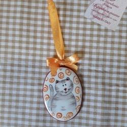 Pendente ovale gatto grigio