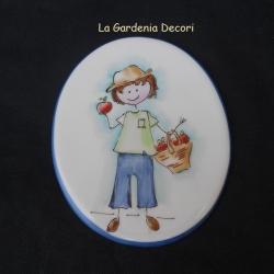 targa decorativa con bimbo campagnolo